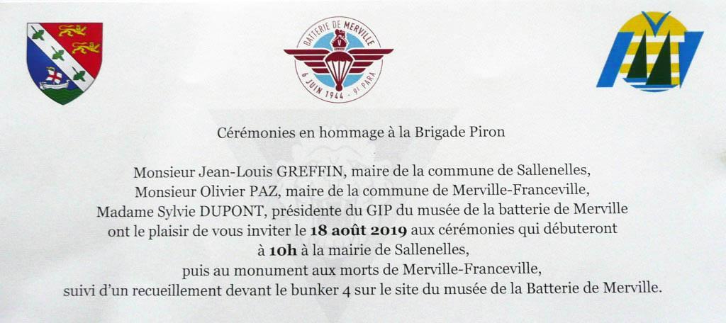 Invitation Cérémonies Hommage à la Brigade Piron